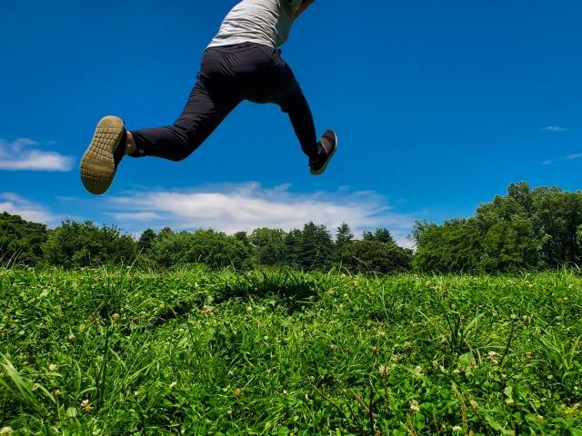 草原をスキップする人